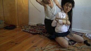 Kinbaku bondage – Me struggling in rope and shared an intense second